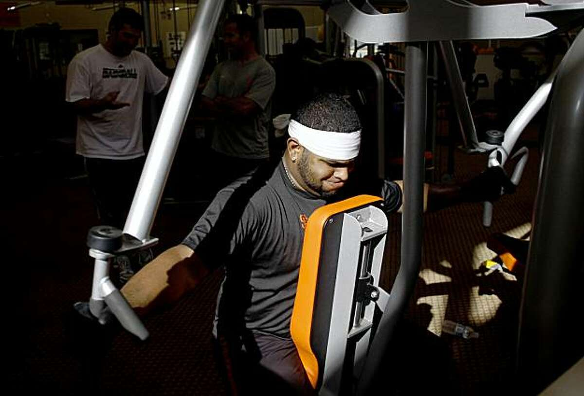 Pablo Sandoval works out at the Giants' minor league facility on Friday, Nov. 13, 2009 in Scottsdale, Ariz. Sandoval who is getting an early start on his off-season training wants to loose weight by the start of the 2010 Major League Baseball season. Photo by Joshua Lott for the San Francisco Chronicle