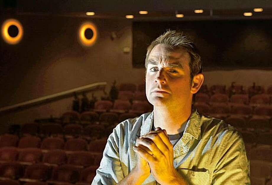 "San Francisco playwright Peter Nachtrieb sits in the Marin Theatre, Wednesday Oct. 21, 2009,  where his play"" Boom"" will open in Mill Valley, Calif. Photo: Lacy Atkins, The Chronicle"