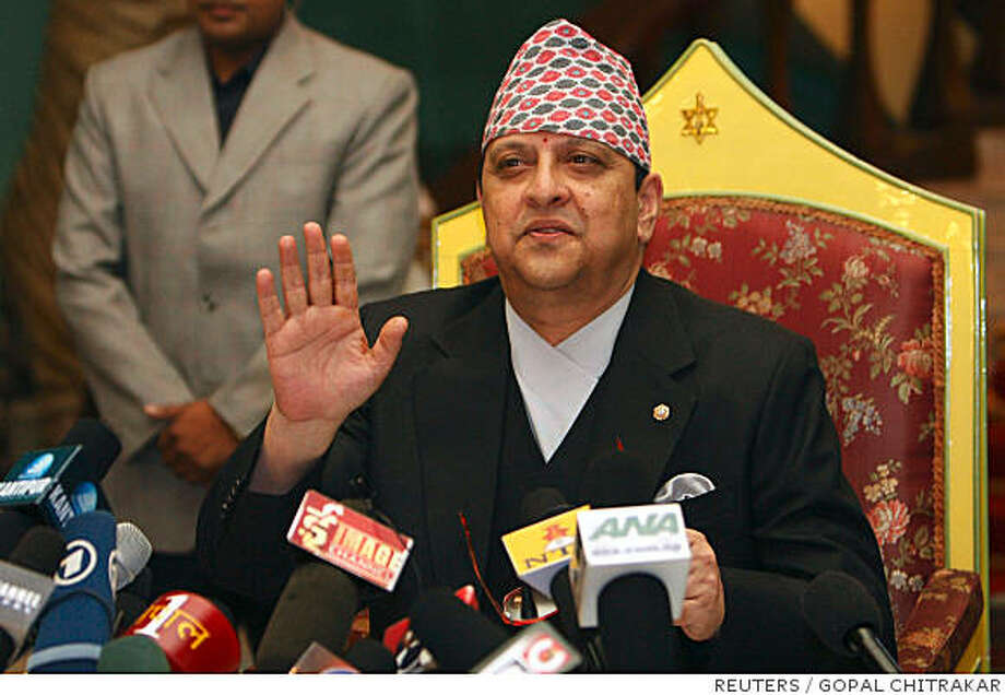 Nepal's deposed King Gyanendra addresses the media at the Narayanhiti royal palace in Kathmandu June 11, 2008. Gyanendra vowed on Wednesday not to flee the country but to stay on and work for the good of its people.   REUTERS/Gopal Chitrakar (NEPAL) Photo: GOPAL CHITRAKAR, REUTERS