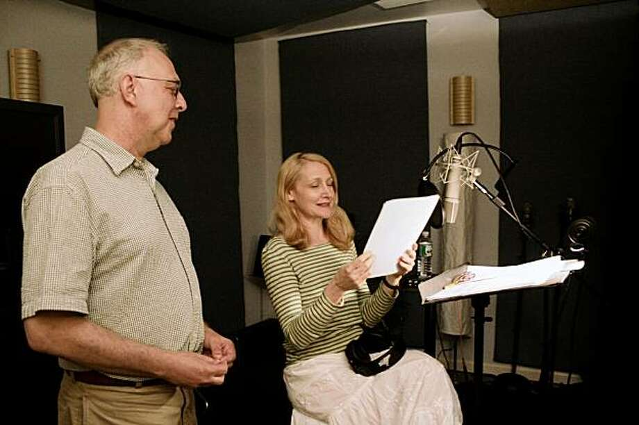 "Director Gerald Peary (left) discusses the narration of his film ""For the Love of Movies: The Story of American Film Criticism."" with actress Patricia Clarkson. Photo: AG Films"