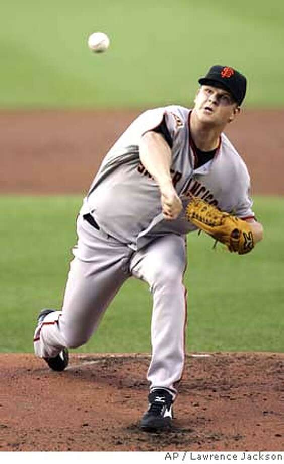 San Francisco Giants starting pitcher Matt Cain throws against the Washington Nationals in the first inning of the baseball game in Washington, Monday, June 9, 2008. (AP Photo/Lawrence Jackson) Photo: Lawrence Jackson