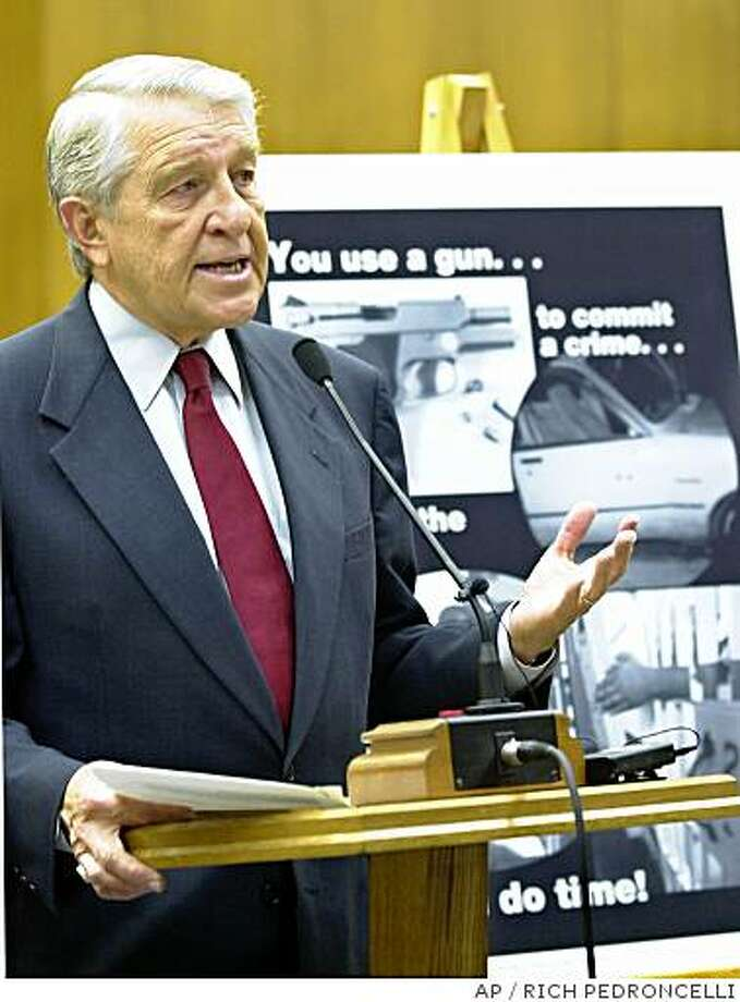 "State Sen. Jack Scott, D-Altadena, announces that he has introduced legislation that would require manufacturers and importers to collect ""ballistic fingerprints"" on all firearms manufactured and sold in the state, during a Capitol news conference in Sacramento, Calif., Tuesday, Dec. 10, 2002. Photo: RICH PEDRONCELLI, AP"