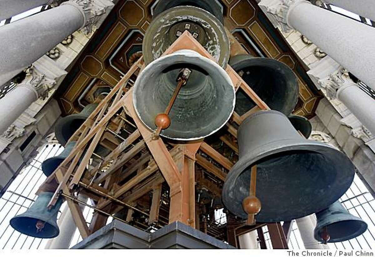 Sixty-one bells comprise of the Sather Tower carillon in Berkeley, Calif., on Wednesday, June 4, 2008. The bell tower, also known as the Campanile, will host the Berkeley Carillon Festival from June 10 thru June 13 and is attracting carillonneurs from all over the world.Photo by Paul Chinn / The Chronicle