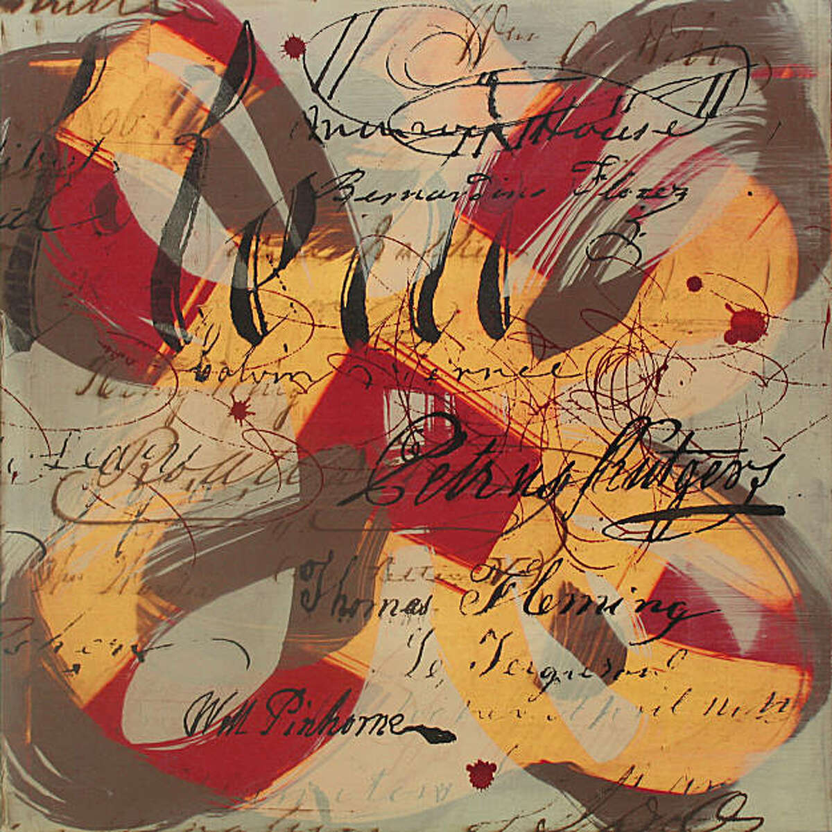 """Moniker 17 (Florez)"" (2009) oil on panel by Catherine Courtenaye 12"" x 12"""
