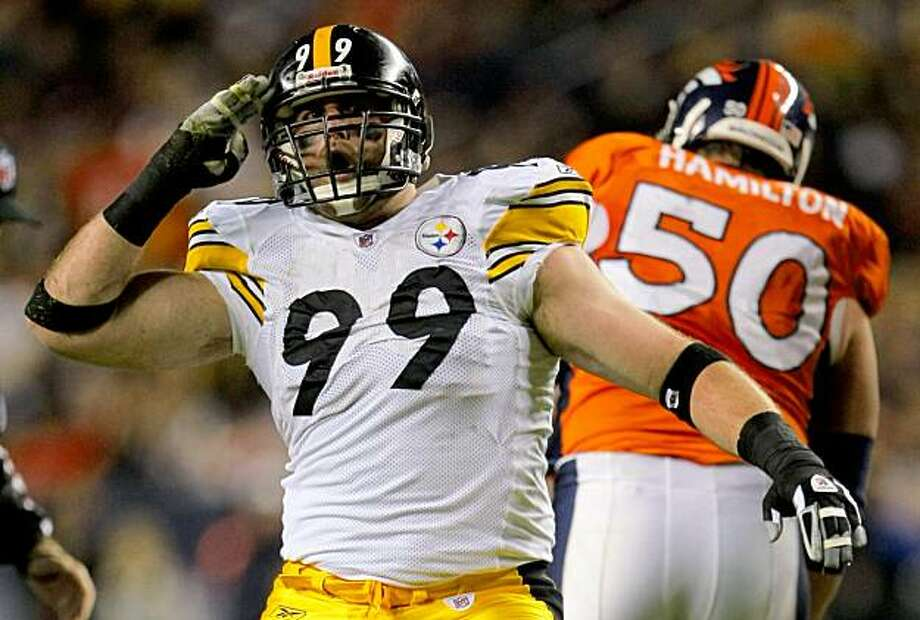 DENVER - NOVEMBER 09: Brett Keisel #99 of the Pittsburgh Steelers celebrates after a sack in the second quarter against the Denver Broncos at Invesco Field at Mile High on November 09, 2009 in Denver, Colorado. (Photo by Doug Pensinger/Getty Images) Photo: Doug Pensinger, Getty Images