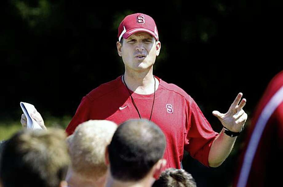 Stanford head coach Jim Harbaugh during practice in Palo Alto,  Calif., on Monday, August 10, 2009. Photo: Liz Hafalia, The Chronicle