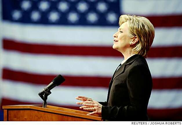 US Democratic presidential candidate Senator Hillary Clinton (D-NY) speaks at the National Building Museum in Washington June 7, 2008, where she will formally drop out of the contest and throw her support behind her rival of the last 16 months, presumptive Democratic presidential nominee Senator Barack Obama (D-IL).     REUTERS/Joshua Roberts  (UNITED STATES)   US PRESIDENTIAL ELECTION CAMPAIGN 2008 (USA) Photo: JOSHUA ROBERTS, REUTERS