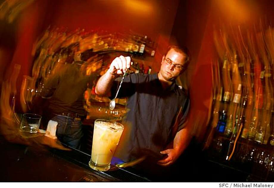 Aaron Prentice, owner of Cantina (580 Sutter) prepares a pitcher of pisco punch. Photo: Michael Maloney, SFC
