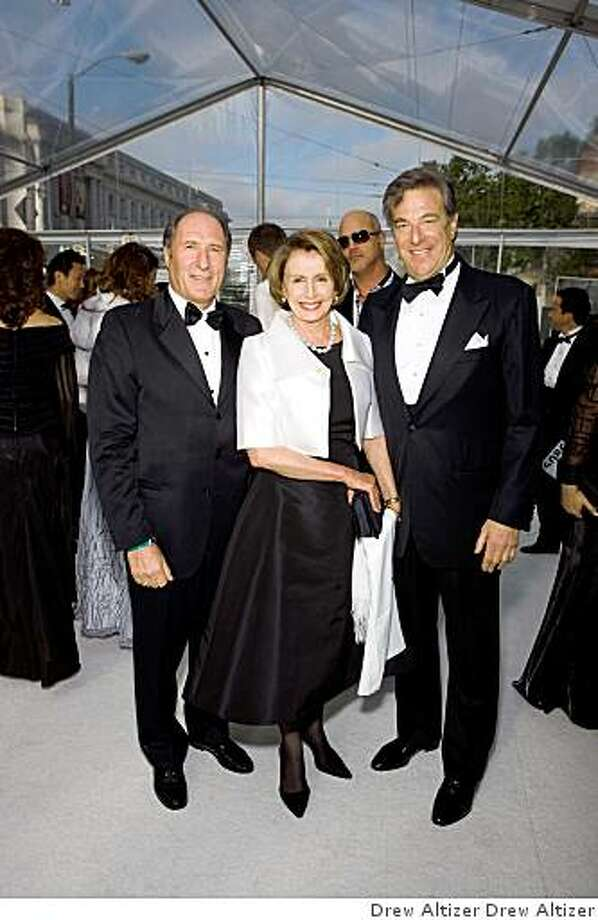 Symphony Board President John Goldman, left, House Speaker Nancy Pelosi, center, and Paul Pelosi at the Black and White Ball.John Goldman, Mme. Speaker Nancy Pelosi, Paul Pelosi Photo: Drew Altizer Drew Altizer