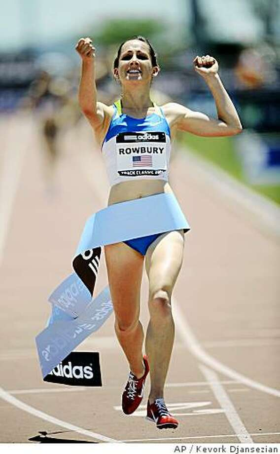 Shannon Rowbury reacts after winning the women's 1500 meters with a time of 4:01.61 during the Adidas Track Classic at the Home Depot Center  in Carson, Calif., Sunday May 18, 2008. (AP Photo/Kevork Djansezian) Photo: Kevork Djansezian, AP