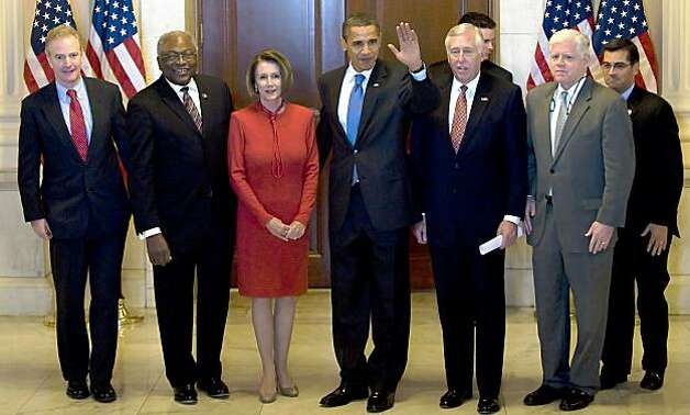 US President Barack Obama (C) waves as he walks out of the Caucus Room with House Majority Whip James E. Clyburn (2nd L), US Speaker of the House Nancy Pelosi (3rd L), House Majority Leader Steny Hoyer, (3rd R) and Congressman John Larson (2nd R), and other leaders after a meeting on health care reform on Capitol Hill in Washington, DC, November 7, 2009.          AFP PHOTO/Jim WATSON (Photo credit should read JIM WATSON/AFP/Getty Images) Photo: Jim Watson, AFP/Getty Images