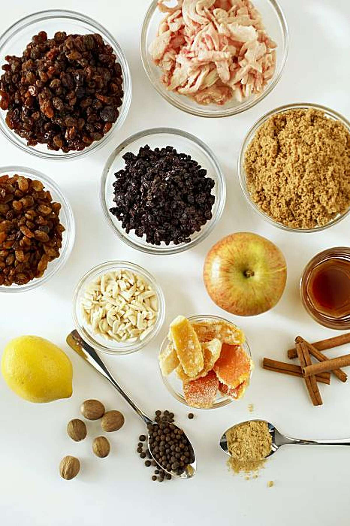 Ingredients to make mincemeat in San Francisco, Calif., on September 30, 2009.