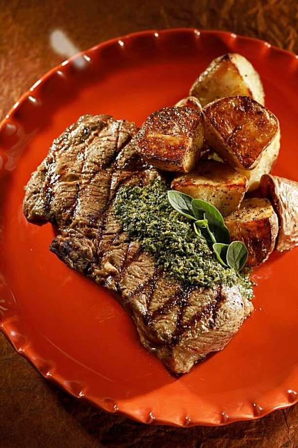 Steak with Salsa Verde and Roasted New Potatoes in San Francisco, Calif., on October 28, 2009. Food styled by Rachael Daylong. Photo: Craig Lee, Special To The Chronicle