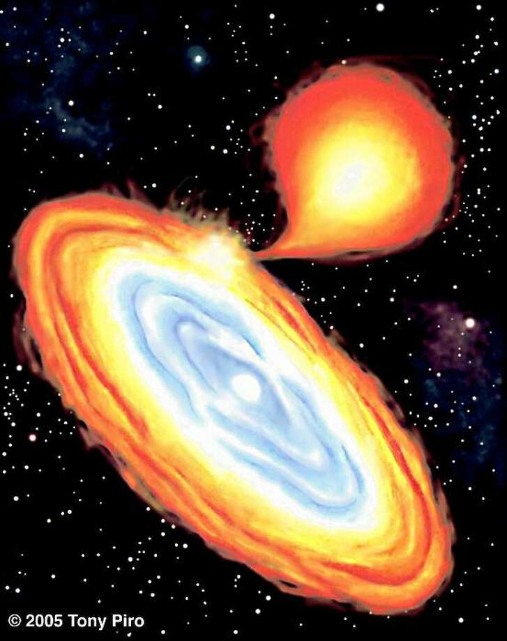 Artist's impression of an AM-CVn star system, where helium flows from one star, a helium white dwarf (upper right), onto another, piling up in an accretion disk around a small, dense primary star. Helium from the disk eventually falls onto the star, forming a shell that may end up exploding as a Type .Ia (point one A) supernova. Photo: Tony Piro