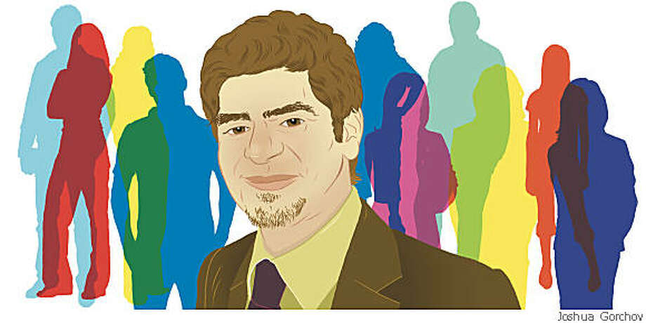 Illustrated portrait of Armen Berjikly for BRIGHT IDEAS column in 6/1/08 issue of Sunday magazine. FIRST REPRO RIGHTS ONLY; OK TO POST WITH ARTICLE ON SFGATE