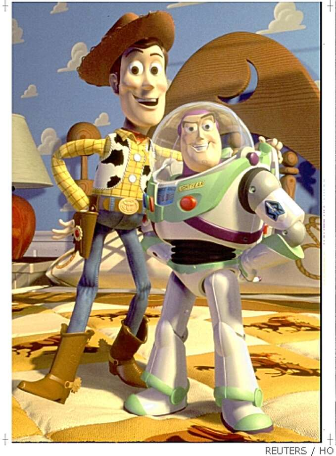 "LOA04:TOY STORY:LOS ANGELES,CALIFORNIA,20NOV95- The main characters from the new Walt Disney Pictures film ""Toy Story"" are shown together. Spaceman action figure ""Buzz Lightyear"" (R) and pull-string cowboy toy ""Woody"" appear in the first featurelength film done completely by computer animation. The film opens in the United Stat es November 22. fsp/HO REUTERS Photo: HO, REUTERS"