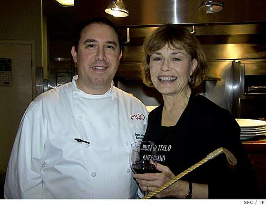 Palio d?Asti chef Dan Scherotter at the stoves with Nancy Fleming Lange, a former Miss America turned radio host and Museo publicity maven Photo: TK, SFC
