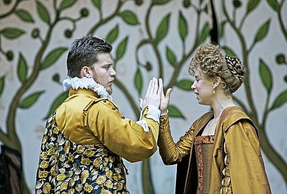 "Philip Cumbus (left)and Michelle Terry in London's Globe Theatre production of Shakespeare's ""Love's Labour's Lost"" Photo: John Haynes"