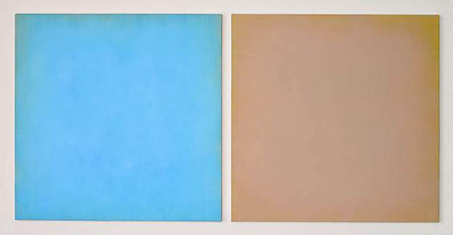 """24 degrees 53' N 67 degrees 1.7' E"" (2009) oil on wax diptych by Anne Appleby  44"" x 90"" Photo: Wilfred J. Jones, Gallery Paule Anglim"