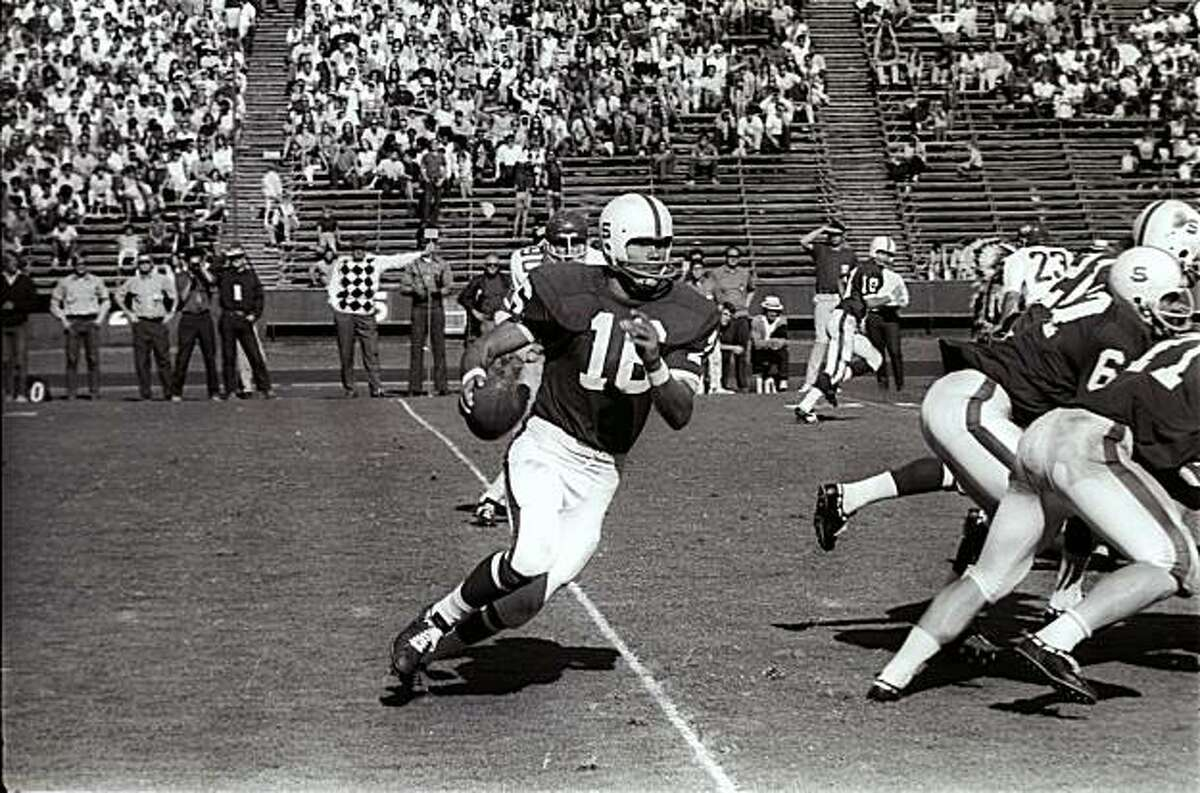 Stanford quarterback Jim Plunkett scrambles during a game against Washington State on October 18, 1969 in Palo Alto, Calif. In 1969, Stanford had the makings of a team that would win two Rose Bowls. Those bowl wins, however, came after the next two seasons. The 1969 season was one of heartbreak and missed opportunities. In those days there were only four bowl games, so the 1969 team had no postseason at all, despite going 7-2-1 and finishing 19th in the Associated Press poll.