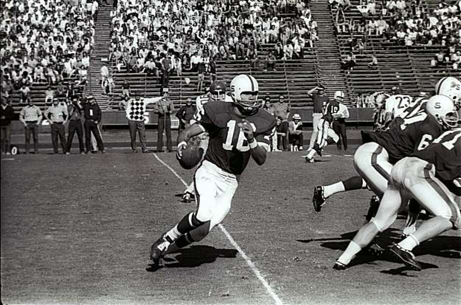 Stanford quarterback Jim Plunkett scrambles during a game against Washington State on October 18, 1969 in Palo Alto, Calif. In 1969, Stanford had the makings of a team that would win two Rose Bowls. Those bowl wins, however, came after the next two seasons. The 1969 season was one of heartbreak and missed opportunities. In those days there were only four bowl games, so the 1969 team had no postseason at all, despite going 7-2-1 and finishing 19th in the Associated Press poll. Photo: The Chronicle
