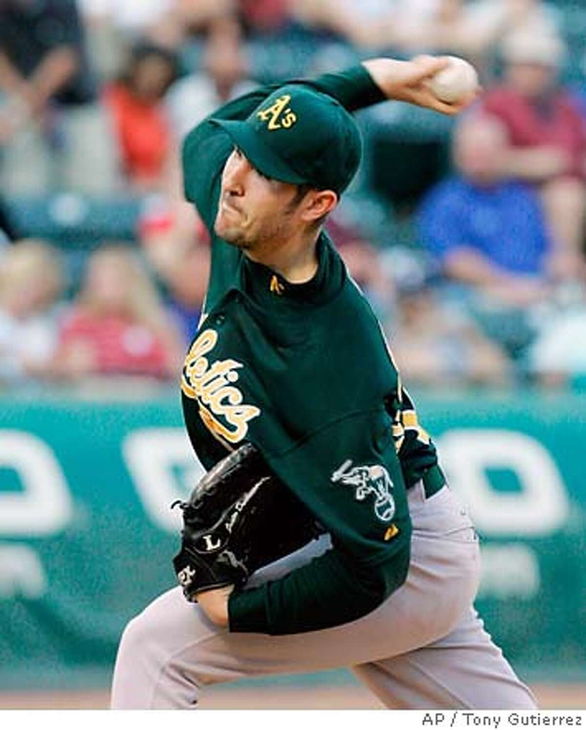 Oakland Athletics starting pitcher Justin Duchscherer delivers to the Texas Rangers in the first inning of a Major League baseball game, Friday, May 30, 2008, in Arlington, Texas. (AP Photo/Tony Gutierrez)