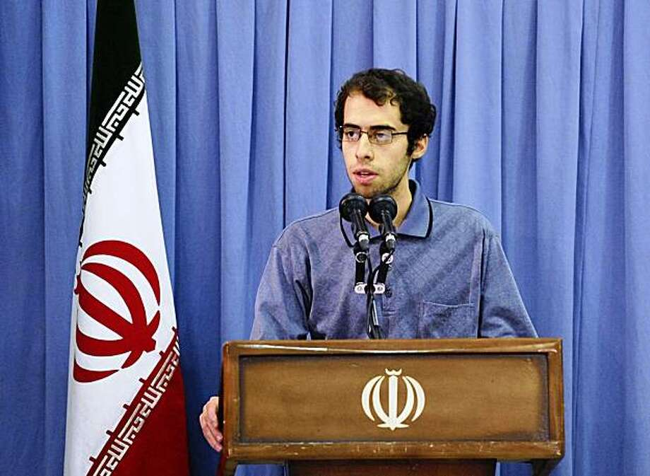 This photo taken on Wednesday, Oct. 28, 2009, and released by the official website of the Iranian supreme leader's office shows Iranian student Mahmoud Vahidnia speaking in a meeting with supreme leader Ayatollah Ali Khamenei, unseen, in Tehran, Iran.  (AP Photo/Office of the Supreme Leader) ** EDITORIAL USE ONLY, NO SALES ** Photo: Office Of The Supreme Leader, AP