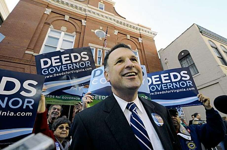 Virginia Democratic gubernatorial candidate, Sen. Criegh Deeds smiles during a campaign stop on election eve at the historic Fire Station No.1, in downtown Roanoke, Va.  Monday, Nov. 2, 2009.(AP Photo/Don Petersen) Photo: Don Petersen, AP