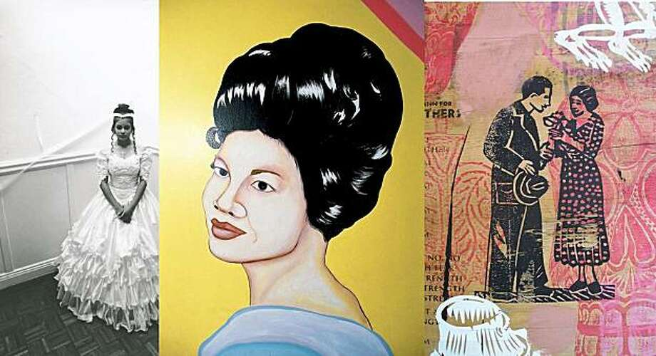 Left to right, Photo by Ruben Guzman, art by Carolyn Castao and art by Michael Roman. Photo: Mission Muralismo