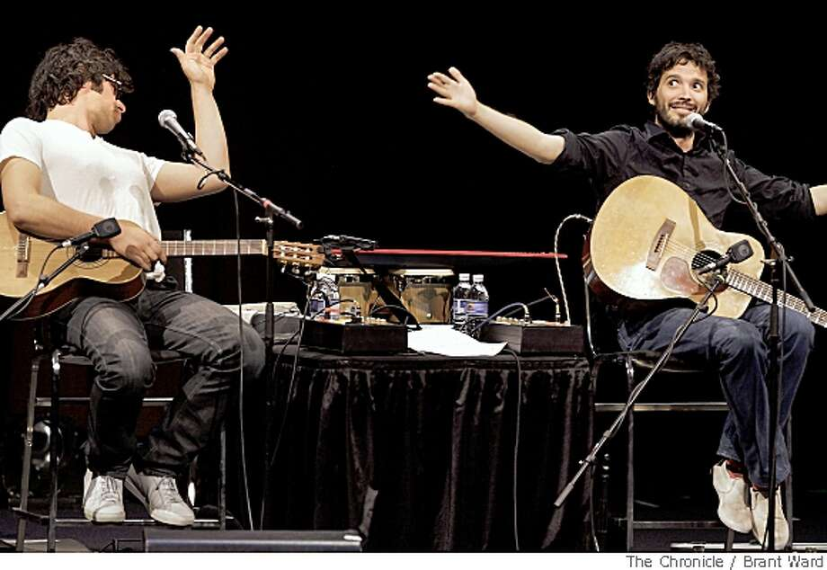 Flight of the Conchords, the musical New Zealand comedy duo performed Tuesday, May 27, 2008 at the Masonic Auditorium in San Francisco, Calif. Jemaine Clement, left, and Bret McKenzie entertained the sold-out crowd with their music and dialogue. Photo: Brant Ward, The Chronicle