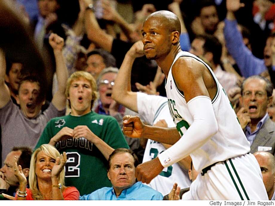 BOSTON - MAY 28:  Ray Allen #20 of the Boston Celtics celebrates after hitting a three pointer against the Detroit Pistons during Game Five of the Eastern Conference finals during the 2008 NBA Playoffs at TD Banknorth Garden on May 28, 2008 in Boston, Massachusetts. NOTE TO USER: User expressly acknowledges and agrees that, by downloading and/or using this photograph, user is consenting to the terms and conditions of the Getty Images License Agreement.  (Photo by Jim Rogash/Getty Images) Photo: Getty Images