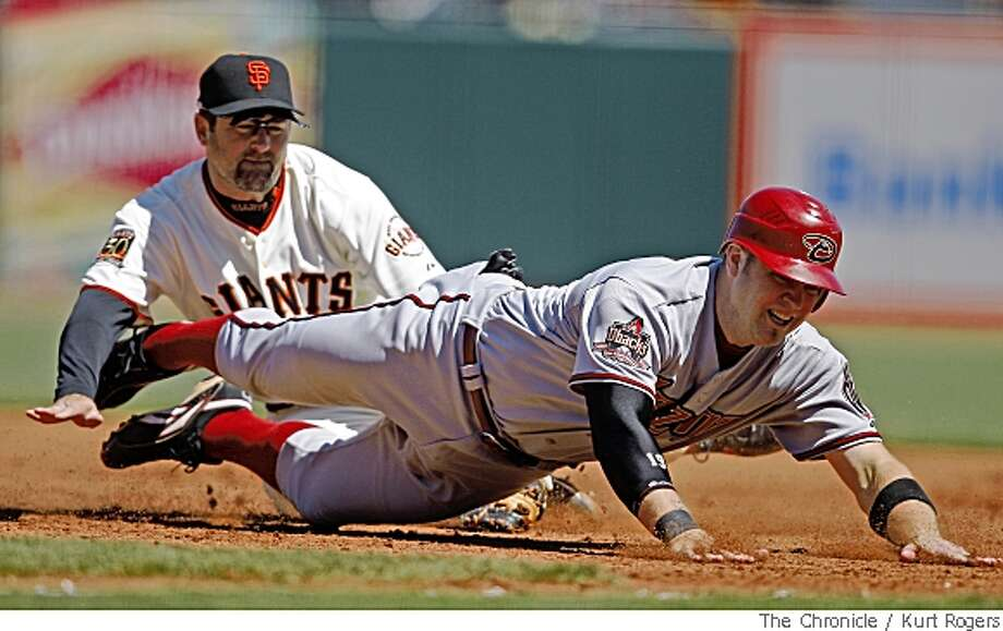 Rich Aurilia tags Chris Snyder at first as Stephan Drew lined into double play, On Wednesday  April 16,  2008 in San Francisco, CalifPhoto By Kurt Rogers / San Francisco Chronicle Photo: Kurt Rogers, SFC