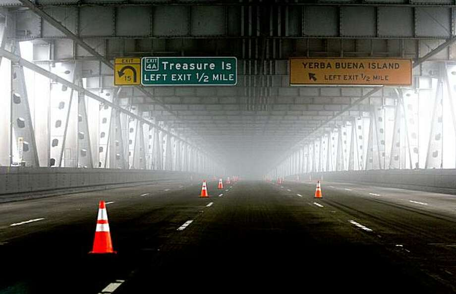 The entire Bay Bridge remains closed with no definite time of reopening while repairs continue on the span. Photo: Michael Macor, The Chronicle