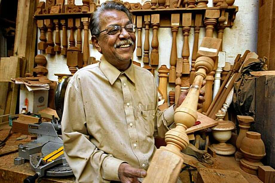 Mukesh Prasad, who has been doing wood working since he was 15 years old works in the Mission making victorian wood trim, posts, and balusters at his shop, Monday Oct. 26, 2009, in San Francisco, Calif. Photo: Lacy Atkins, The Chronicle