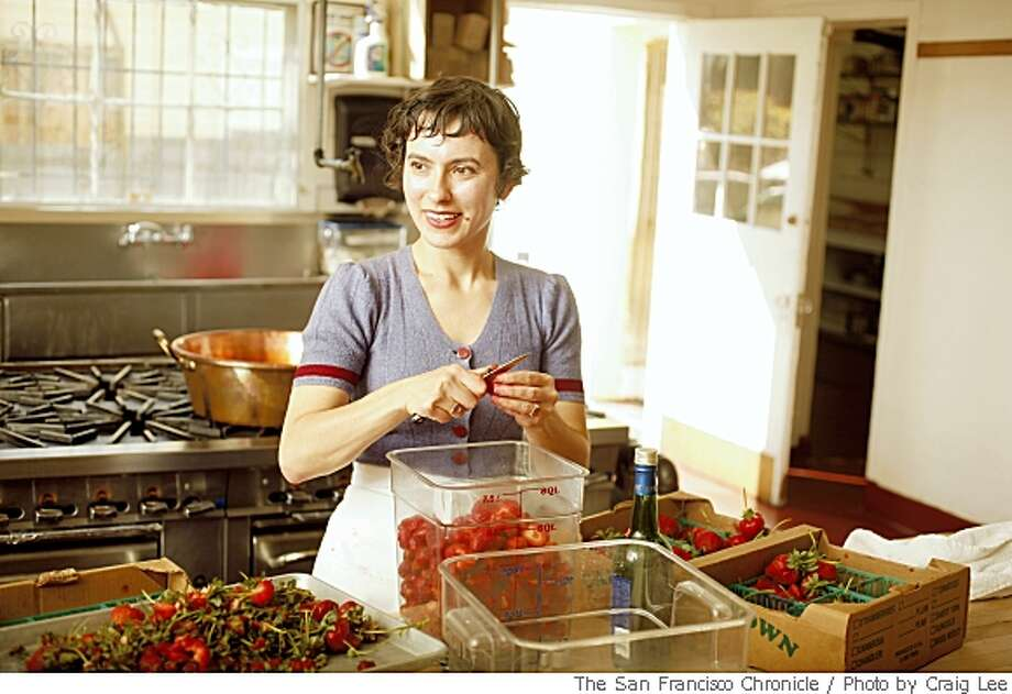Rachel Saunders, founder of Blue Chair Fruit Company, preparing some strawberries to make some jam in her kitchen facility in Alameda, Calif. on May 13, 2008.Photo by Craig Lee / The San Francisco Chronicle Photo: Photo By Craig Lee, SFC