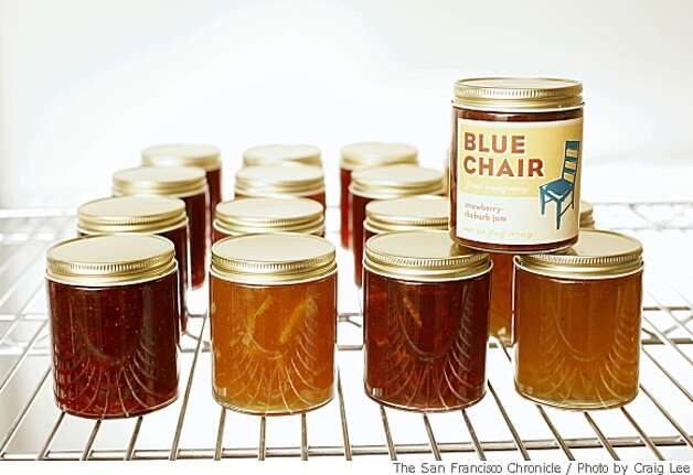 Jams made by Rachel Saunders, founder of Blue Chair Fruit Company, bottom row, left-right, Grown-up Strawberry Jam, Blood Orange Marmalade, Strawberry Blood Orange Marmalade with Rosemary, Bergamot Marmalade, and on top with the label showing is Strawberry Rhubarb, in her kitchen facility in Alameda, Calif. on May 13, 2008.Photo by Craig Lee / The San Francisco Chronicle Photo: Photo By Craig Lee, SFC