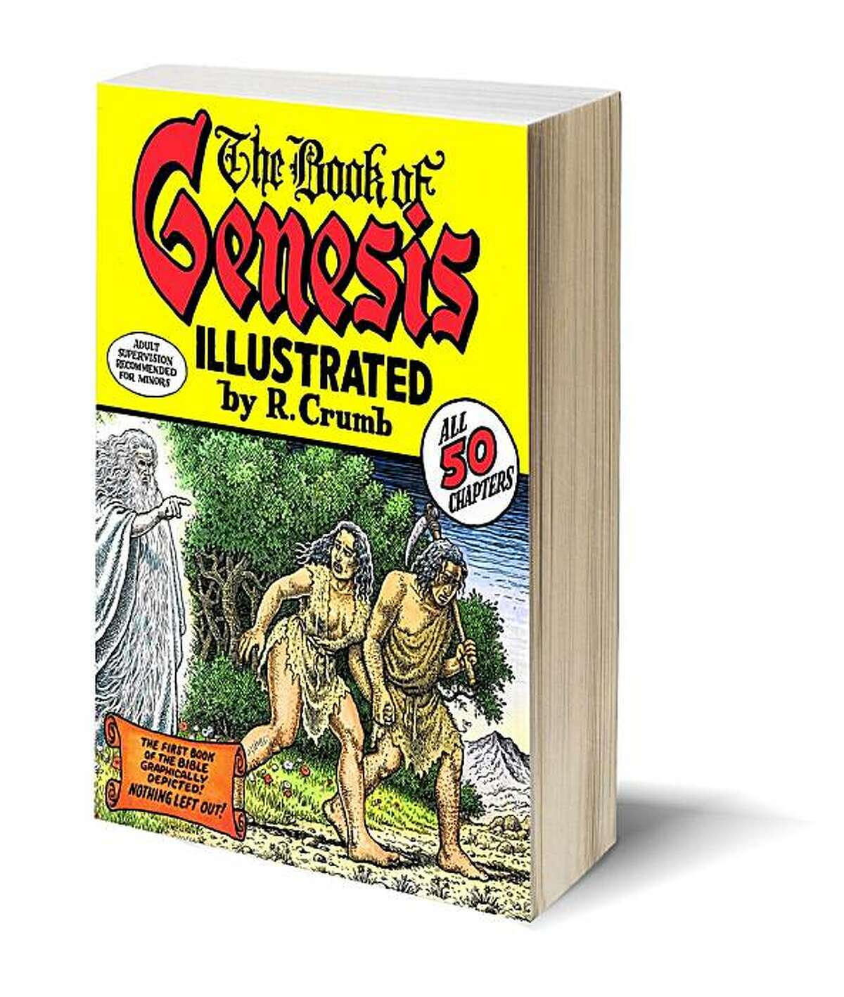 Book cover from R. Crumb's long-awaited The Book of Genesis, a word-for-word adaptation of the Bible Illustrated by R. Crumb. Blank bookcover with clipping path