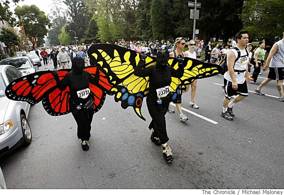 Tow monarch butterflies flutter down Fell Street during the 97th annual ING Bay to Breakers 12k foot race in San Francisco, Calif., on May 18, 2008.Photo by Michael Maloney / San Francisco Chronicle Photo: Michael Maloney, SFC