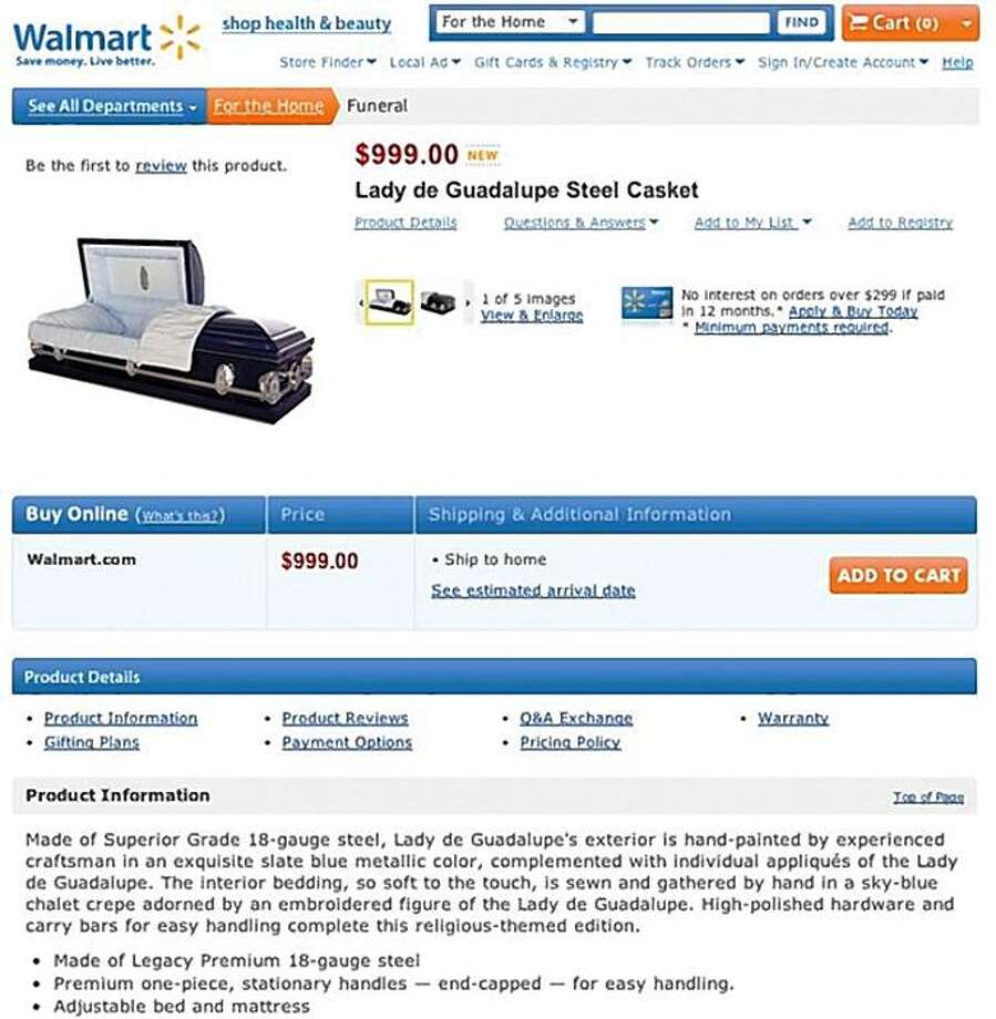 ###Live Caption:In this screen shot taken from WalMart.com, a casket for sale on the Wal-Mart Web site is shown. Wal-Mart quietly put up about 15 caskets and dozens of urns on its Web site last week. (AP Photo/WalMart.com) ** NO SALES **###Caption History:In this screen shot taken from WalMart.com, a casket for sale on the Wal-Mart Web site is shown. Wal-Mart quietly put up about 15 caskets and dozens of urns on its Web site last week. (AP Photo/WalMart.com) ** NO SALES **###Notes:###Special Instructions:NO SALES AP provides access to this publicly distributed HANDOUT photo to be used only to illustrate news reporting or commentary on the facts or events depicted in this image. Photo: Www.walmart.com