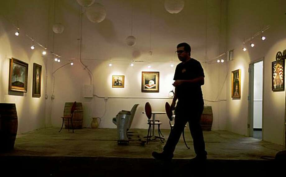 Local artist works are displayed at Periscope Cellars tasting room in Emeryville Sept 15, 2009. Photo: Lance Iversen, The Chronicle