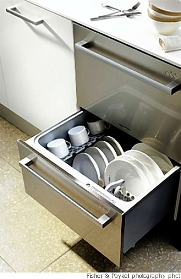 Fisher & Paykel's DishDrawer DishDrawer® offers the option  of an economical, smaller load using as little as 1.98 gallons of  water , and average for a normal eco cycle is 2.6 gallons . Photo: Fisher & Paykel Photography Phot