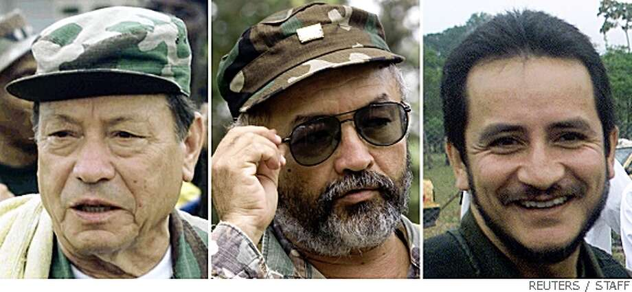 Three former commanders of Colombia's FARC rebel force, (L-R) Manuel Marulanda (known as Sureshot), Raul Reyes and Ivan Rios, are seen in file photos dating from the years 2000 and 2001. Marulanda, the top commander and founder of the FARC, is dead after more than 40 years fighting against the state from jungle and mountain camps, a government source said on May 24, 2008. The death of Marulanda would be the heaviest of several recent blows suffered by Latin America's oldest surviving insurgency, after the deaths of Reyes and Rios less than two months earlier.  REUTERS/Staff/Files (COLOMBIA) Photo: STAFF, REUTERS