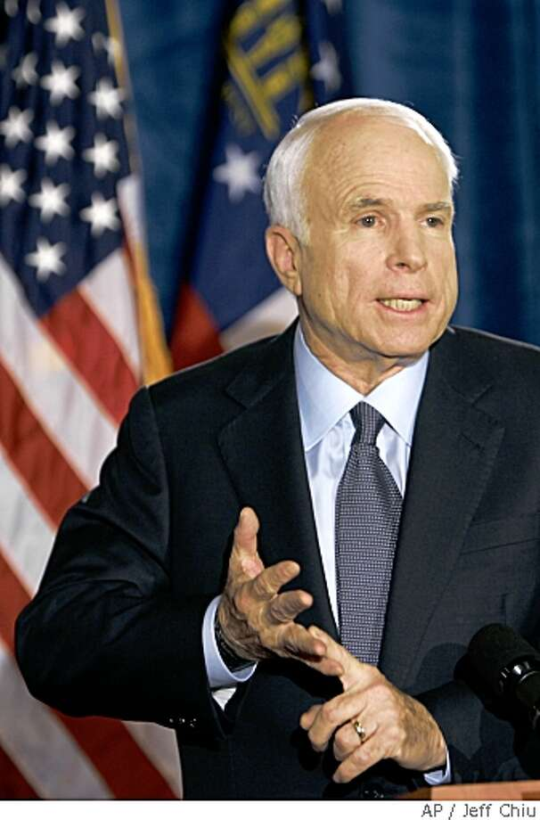 Republican presidential candidate, Sen. John McCain, R-Ariz., speaks with reporters during a news conference on Monday, May 19, 2008, in Savannah, Ga.  (AP Photo/Jeff Chiu) Photo: Jeff Chiu, AP