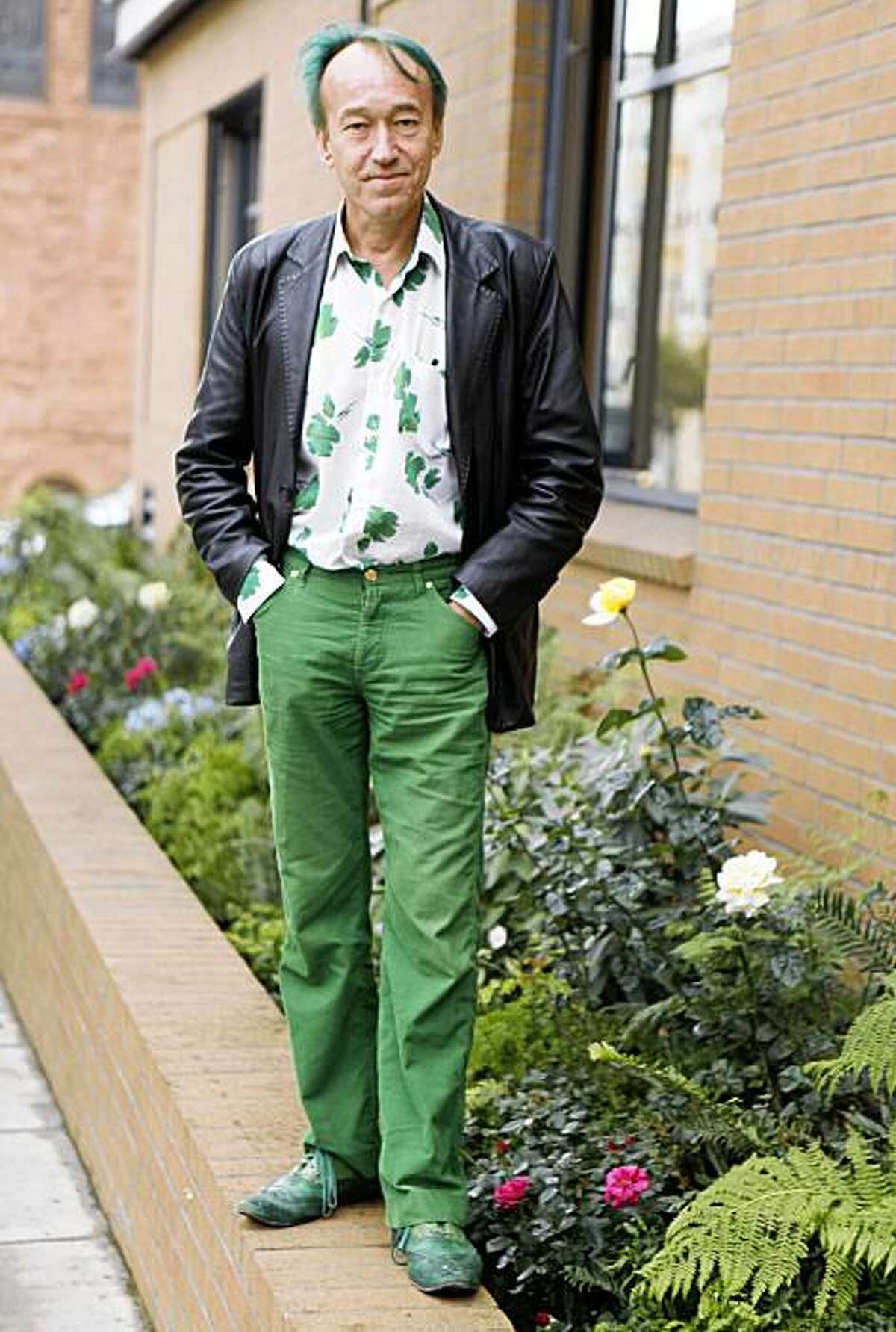 Patrick Blanc, world renowned garden designer, stands for a portrait at the Drew School, soon to be the home of his next vertical garden project, on Monday October 20, 2009 in San Francisco, Calif.