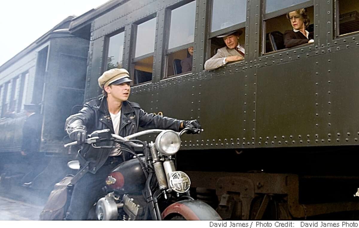 The young biker Mutt Williams (Shia LaBeouf, left) teams up with Indiana Jones (Harrison Ford, right) in