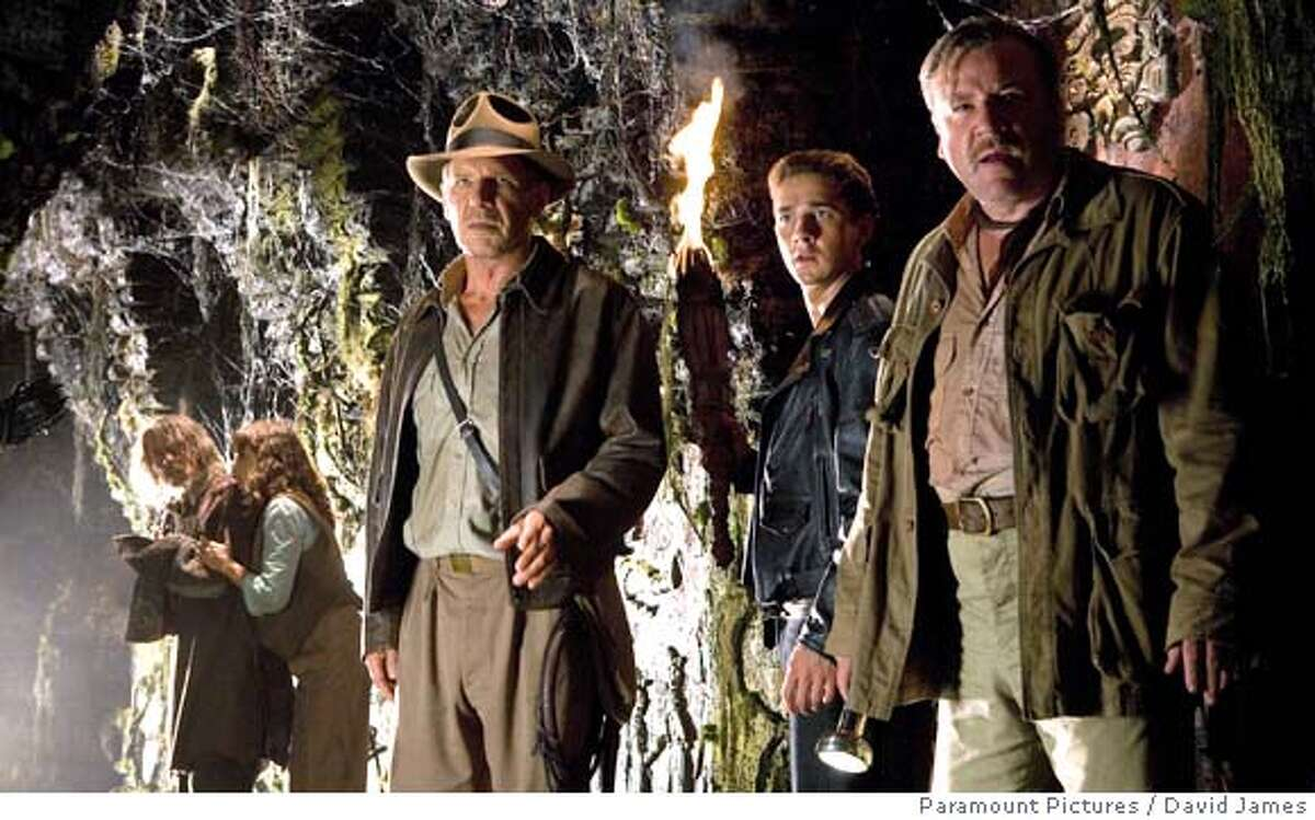 (Left to right) John Hurt as Professor Oxley, and Karen Allen, as Marion Ravenwood, join Harrison Ford as Indiana Jones, Shia LaBeouf as Mutt Williams and Ray Winstone as Mac, in
