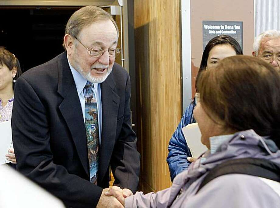 This Thursday Oct. 22, 2009 shows U.S. Congressman Don Young, R-Alaska, left, greeting people at the Alaska Federation of Natives convention in Anchorage, Alaska. Documents filed in federal court alleges Young illegally received gifts totaling up to nearly $200,000 over 13 years from Bill Allen's now-defunct oil field services company Veco.(AP Photo/Al Grillo) Photo: Al Grillo, AP