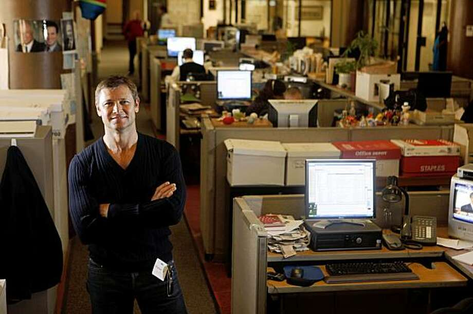 "Actor Grant Show, who plays the publisher of the San Francisco Chronicle on the show ""Accidentally on Purpose,""  stands for a portrait during a tour of the Chronicle newsroom on Thursday Oct. 22, 2009 in San Francisco, Calif. Photo: Mike Kepka, The Chronicle"