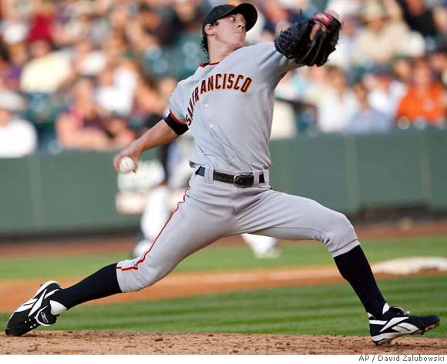 San Francisco Giants' Tim Lincecum pitches to the Colorado Rockies in the second inning of a Major League Baseball game in Denver on Tuesday, May 20, 2008. (AP Photo/David Zalubowski) Photo: David Zalubowski
