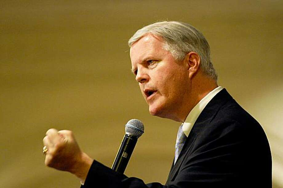 IRVINE, CA - OCTOBER 14:  Republican gubernatorial nomination hopeful and former congressman Tom Campbell speaks at the Orange County Forum, a regular gathering of business and social leaders to present forums on timely topics, on October 14, 2009 in Irvine, California. Campbell is up against former eBay CEO Meg Whitman and State Insurance Commissioner of California Steve Poizner in vying for the job of California governor.  (Photo by David McNew/Getty Images) Photo: David McNew, Getty Images